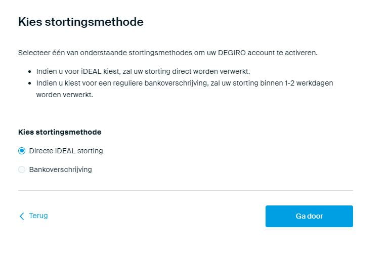 Bankrekening bevestigen via een iDEAL storting